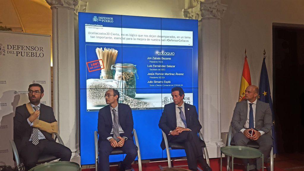 D. Jon Zabala, presidente de FACE; Dr. Luis Fernández, secretario de la SEEC; Dr. Jesús Román, por SEDCA y D. José Luis Simarro de Congalsa.
