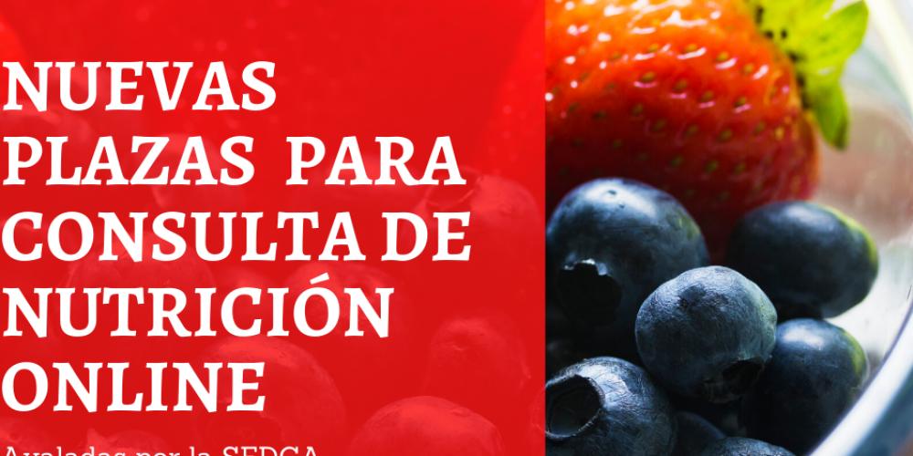 Disponibles consultas de nutrición personalizadas 100% online