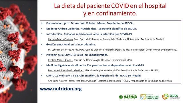 La dieta del paciente COVID en el hospital y en confinamiento.